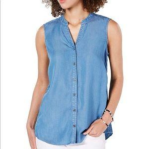 Style & Co - Denim button down sleeveless blouse